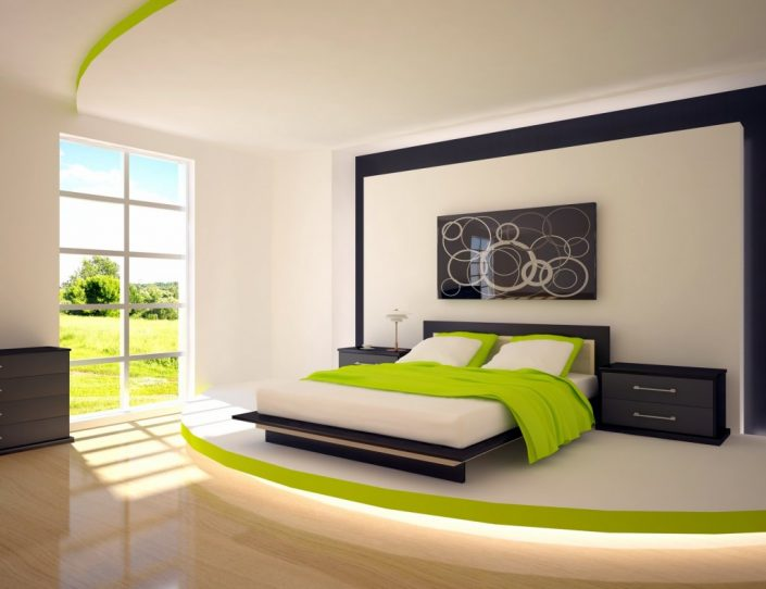 A dream fitted bedroom assorted with green for a prosperous life.