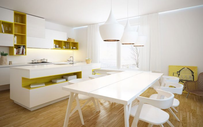 White-Yellow Fitted Kitchen