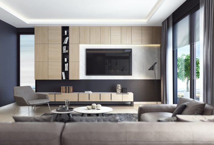 Modern Black Living Room Interior