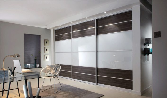 Brown-White Sliding Door