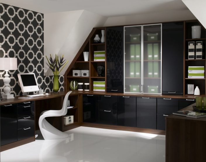 Brown Orleans Oak and Ink Black Home Office